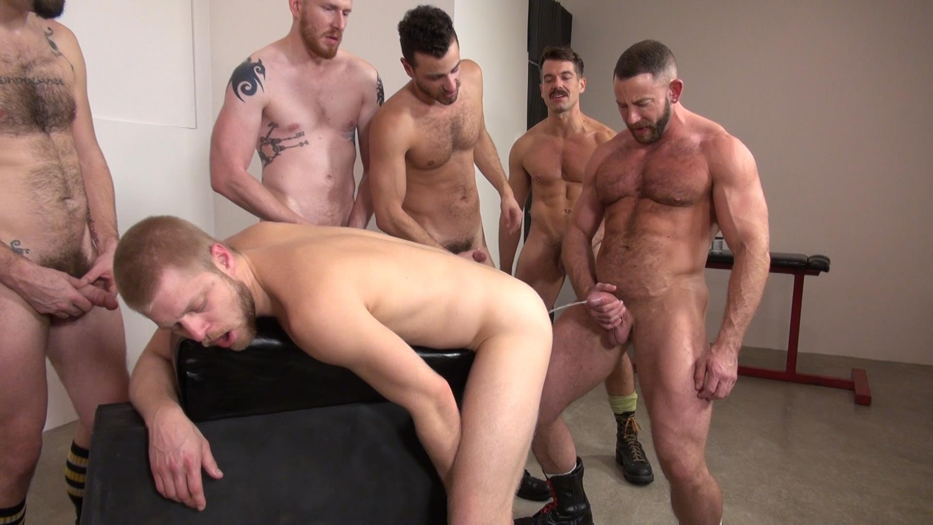 Gay bathroom orgy with well hung hunks